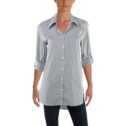 Calvin Klein Womens Tunic Top Striped Boyfriend - Black/White