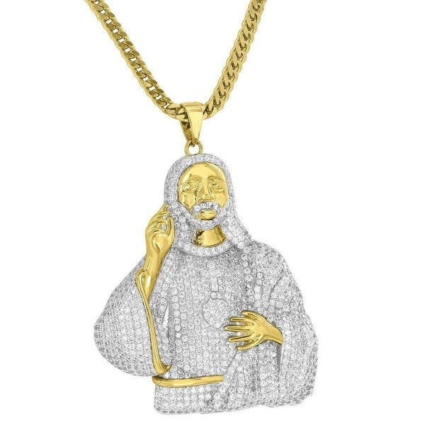 Mens New Iced Out Jesus Pendant Custom Simulated Diamond Pave 18K Gold Tone Free Franco Chain