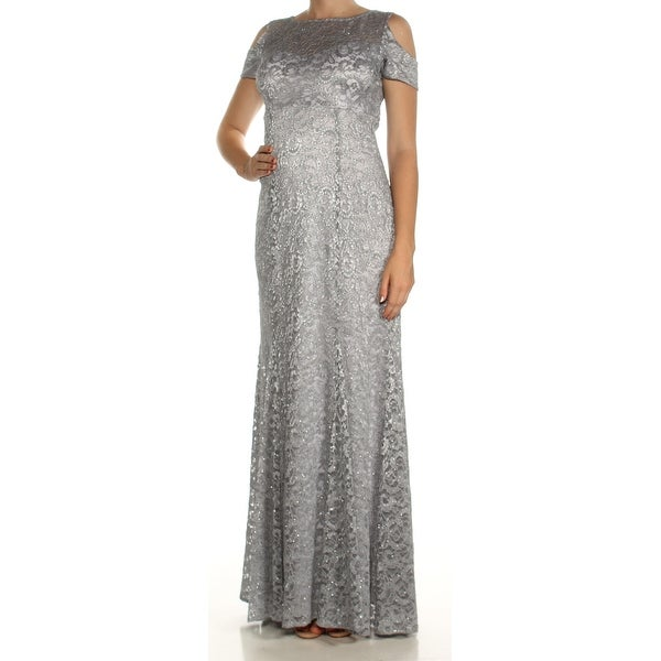 Shop Womens Silver Short Sleeve Full Length Fit Flare Formal Dress
