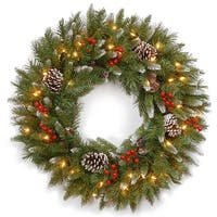 """24"""" Frosted Berry Christmas Wreath - Clear Lights - Green"""