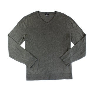 Alfani NEW Heather Gray Mens Size Medium M V-Neck Ribbed-Knit Sweater