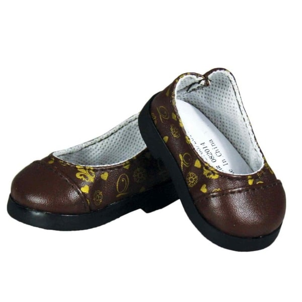 "Brown Flower Mary Jane Dress Shoes Fits 18/"" American Girl Doll Clothes Shoes"