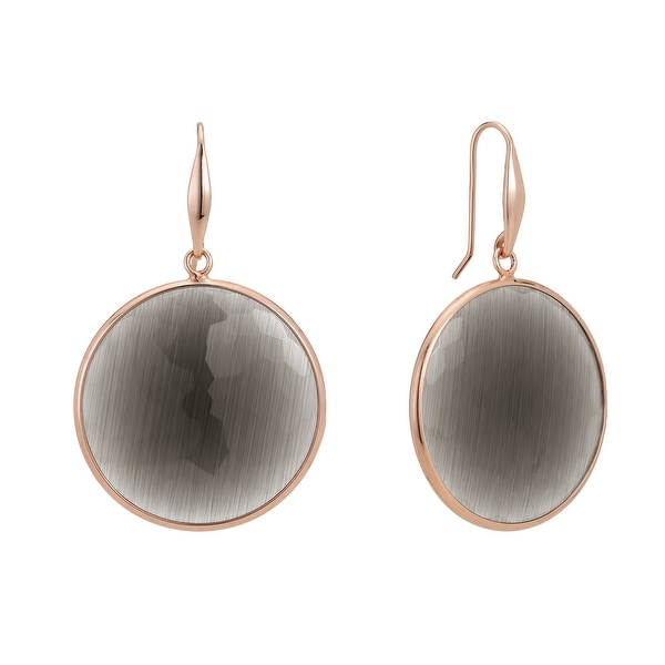 Zoccai 925 Slate Quartz Drop Earrings in Rose Gold-Toned Sterling Silver