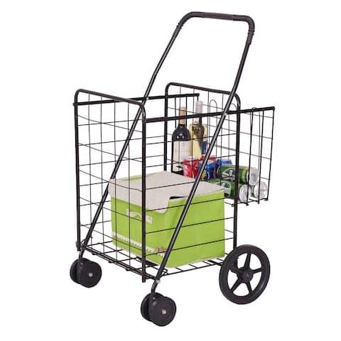 Costway Folding Shopping Cart Jumbo Basket Grocery Laundry Travel w/ Swivel Wheels - as pic