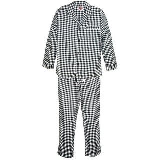 Majestic International Men's Flannel Huntsman Pajama Set - black check