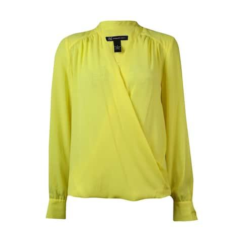 INC International Concepts Women's Surplice Hi-Lo Shirt - Sunray Yellow - 2