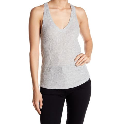 Project Social T Heather Gray Womens Size XL Ribbed V Neck Tank Top