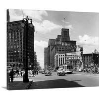 Premium Thick-Wrap Canvas entitled 1940's Cadillac Square Detroit Michigan USA - Multi-color