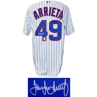 Jake Arrieta Chicago Cubs White Pinstripe Majestic Jersey