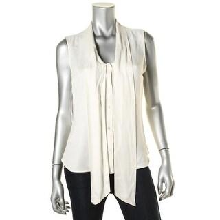 Calvin Klein Womens Tie-Neck Textured Blouse - M