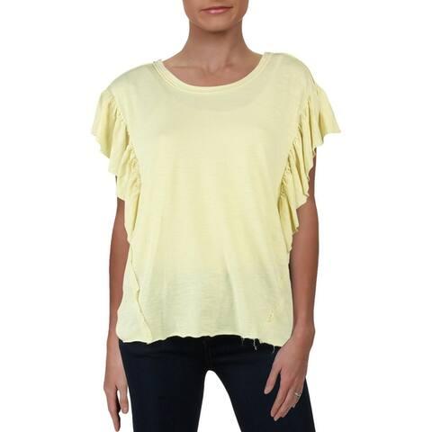 Splendid Womens T-Shirt Cotton Ruffle Sleeve