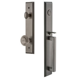 """Grandeur CARDGRCIR_ESET_234  Carre Solid Brass Rose Keyed Entry Single Cylinder Full Plate """"D"""" Grip Handleset with Circulaire"""