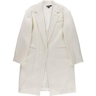 DKNY Womens Pea Coat Wool Blend Single Vent