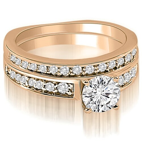 1.00 cttw. 14K Rose Gold Round Cut Diamond Bridal Set