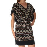 SANGRIA Womens Navy Tribal Dolman Sleeve V Neck Mini Fit + Flare Dress Petites  Size: 10