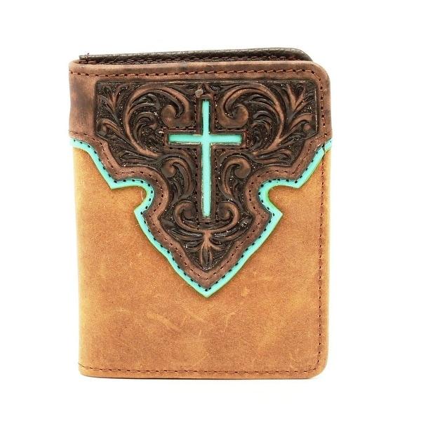 Nocona Western Wallet Mens Bifold Leather Cross Tan - One size
