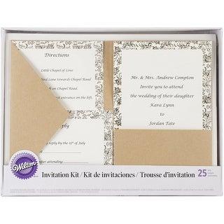 WiltonBeautiful Designed Kraft Pocket Invitation Kit for Wedding 25 Pack