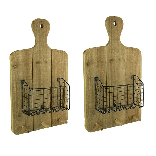 Shop Rustic Wood Hanging Cutting Board With Basket And