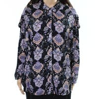 DR2 NEW Blue Womens Size Large L Printed Ruffled Button Down Shirt