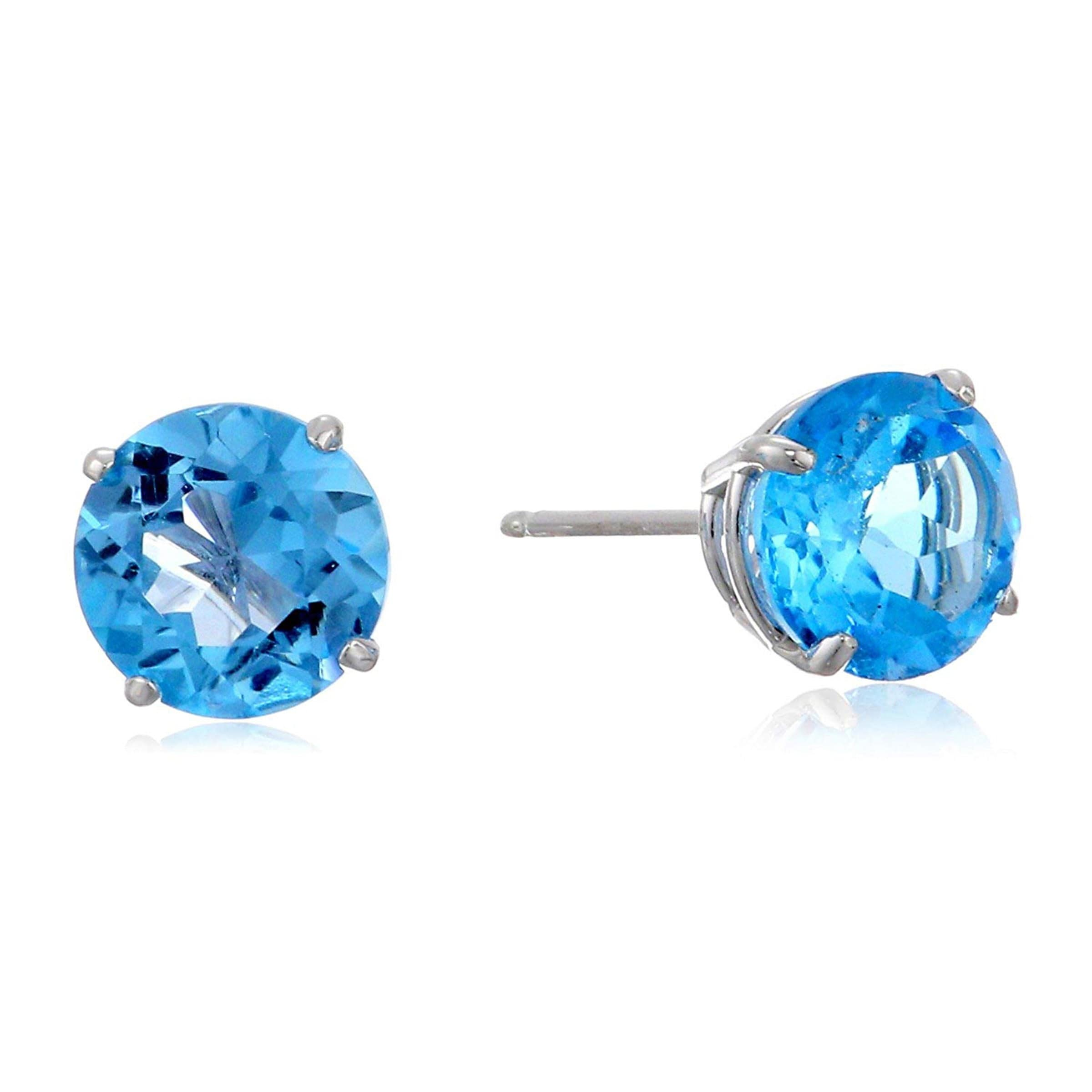 14k White Gold Princess Cut Swiss Blue Topaz Gemstone Stud Earrings