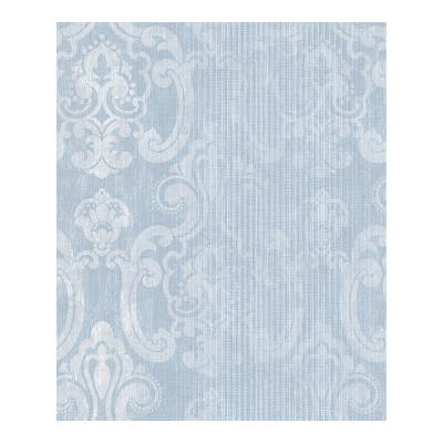 Ariana Seafoam Striped Damask Wallpaper - 21 x 396 x 0.025