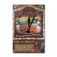 Gatlinburg, TN - Trolley Vintage Sign - LP Artwork (Acrylic Wall Clock) - acrylic wall clock