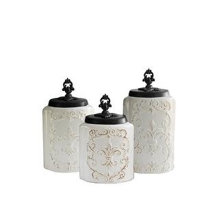 American Atelier 3 Piece White Fleur De Lis Kitchen Canister Jar Set W/ Lids