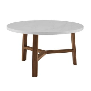 "Delacora WE-BDF30EMCT  Solna 30"" Diameter Marble Top Laminate and Wood Coffee Table"