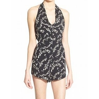 Leith NEW Black White Women's Size Large L Floral Printed Halter Romper