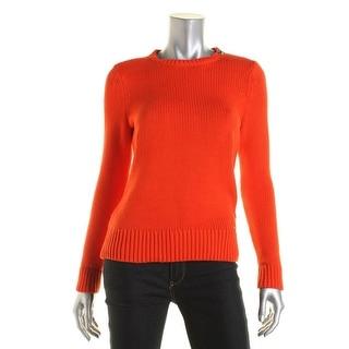 L-RL Lauren Active Womens Shoulder Zip Elbow Patches Pullover Sweater - S