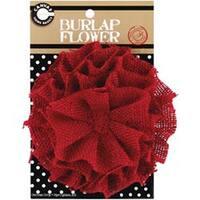 """Red - Burlap Flower 4.5"""""""