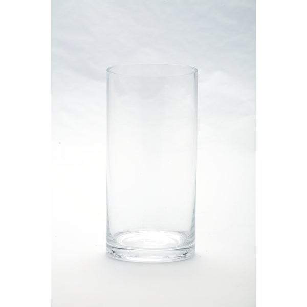 """8"""" Clear Hand Blown Cylinder Glass Candle Holder - N/A"""