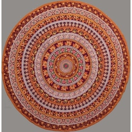 "Handmade 100% Cotton Elephant Mandala Floral 81"" Round Tablecloth Burgundy Mustard Orange Green Red"