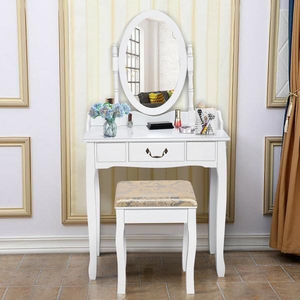 Costway Vanity Table Jewelry Makeup Desk Bench Dresser Stool White. Opens flyout.