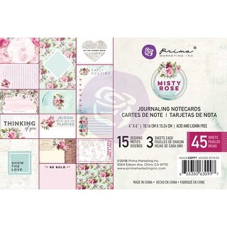 "Misty Rose Journaling Cards Pad 4""X6"" 45/Pkg-15 Designs/3 Each"