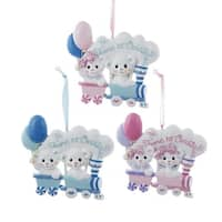 """Club Pack of 12 Pink and Blue Christmas Bears On Train Ornaments 3.75"""""""
