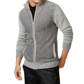 Guess NEW Heather Gray Mens Size Small S Ribbed Full Zip Sweater