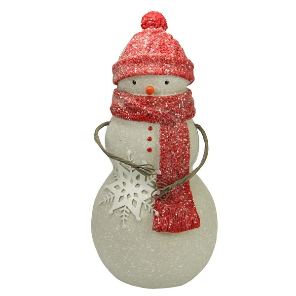 "8.25"" Speckled Snowman with Red Hat and Scarf Decorative Christmas Table Top Figure - WHITE"