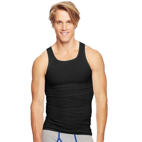3dfa900a8e0bb Shop Hanes Classics Men s TAGLESS® ComfortSoft® Dyed A-Shirt 4-Pack - Size  - M - Color - Black Grey - Free Shipping On Orders Over  45 - Overstock -  ...