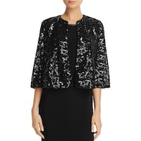 Laundry by Shelli Segal Black Womens Size 8 Sequin Caeplet Jacket