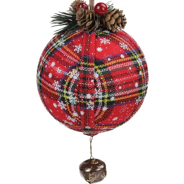 """7.5"""" Red Plaid Christmas Ball Ornament with Rustic Bell"""