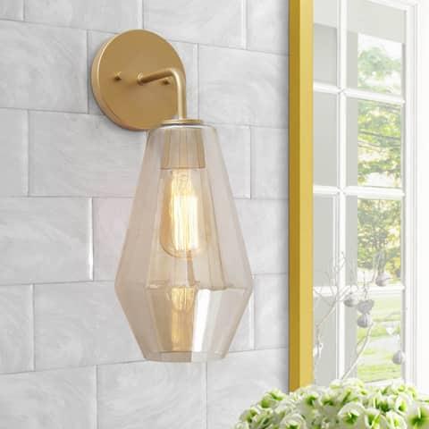 "Modern 1-Light Smoked Glass Bathroom Vanity Light Golden Wall Sconce Lighting - L9""x W7""x H16"""