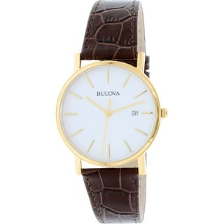 Bulova Men's Classic 97B100 Brown Leather Quartz Dress Watch|https://ak1.ostkcdn.com/images/products/is/images/direct/6c76dadacf9dfb3bf2011fcfcdbb41e7df19fe40/Bulova-Men%27s-Classic-97B100-Brown-Leather-Quartz-Dress-Watch.jpg?impolicy=medium