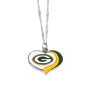 Green Bay Packers NFL Glitter Heart Necklace Charm Gift