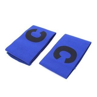 Unique Bargains 2 Pcs Blue Black Elastic Football Soccer Captain Armband with Letter C Printed