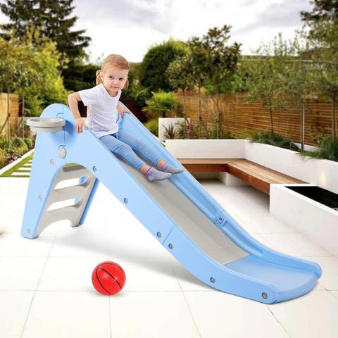 Odoland Slides Carnival for Kids Toddler with Basketball Hoop, Easy Climb Stairs, and Ring Games, Indoors/Outdoor - L