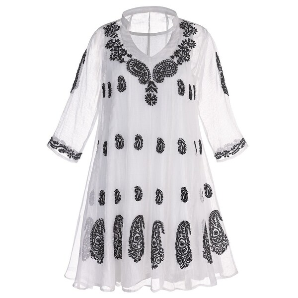 1b51da4d2ddb34 Catalog Classics Women's White Organza Tunic Top With Black Paisley  Embroidery