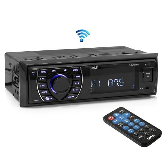 Bluetooth Marine Receiver Stereo, Hands-Free Calling, Wireless Streaming, MP3/USB/SD Readers, AM/FM Radio (Black)