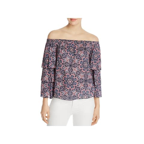 Ella Moss Womens Blouse Off-The-Shoulder Printed - XS