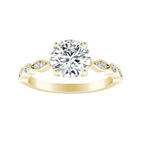 Auriya 14k Gold Vintage 1 1/2ct Round Moissanite Engagement Ring